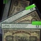 3 NOTES 1925 $20 ,1929 $5 &$10 BANK OF NOVA SCOTIA  PMG ,halifax ,canada