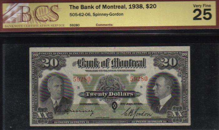 1938 $20 BANK OF MONTREAL BCS VF 25