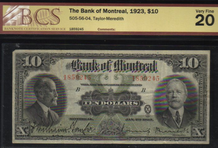 1923 $10 BANK OF MONTREAL BCS 20