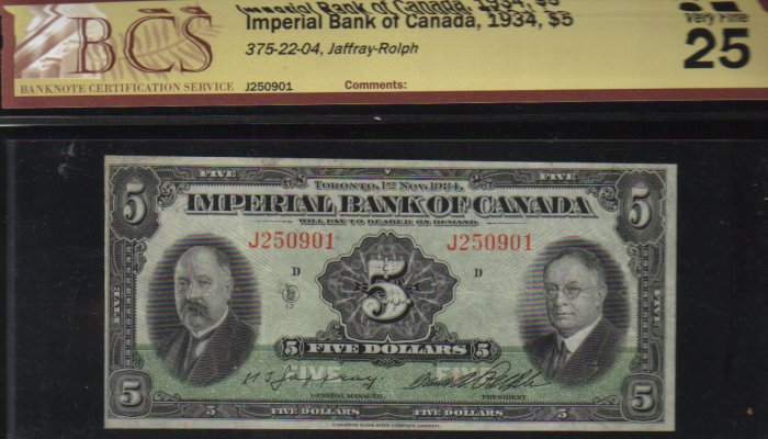 1934 $5 IMPERIAL  BANK OF CANADA BCS VF 25