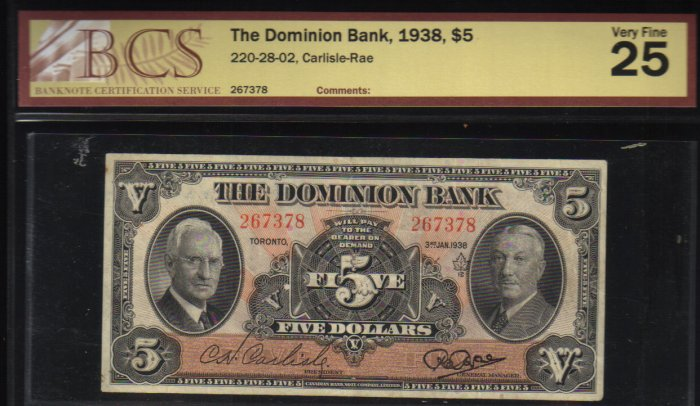 1938 $5 THE DOMINION BANK  BCS VF 25