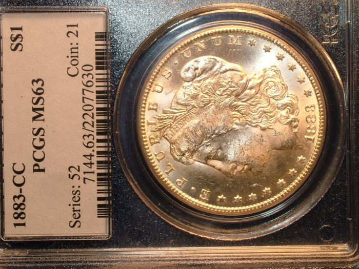 1883 CARSON CITY  MORGAN SILVER DOLLAR  MS63   PCGS  CERTIFIED