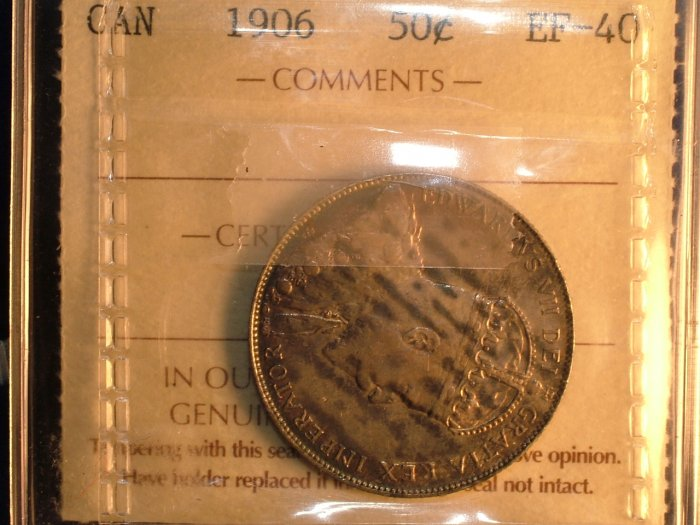 1906 CANADA 50 CENTS EF40  ICCS CERTIFIED COIN