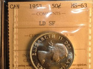 1953 CANADA 50 CENTS  ld sf  MS-63  ICCS CERTIFIED COIN