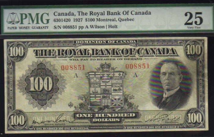 1927 $100 THE ROYAL BANK OF CANADA   PMG VF 25