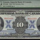 1923 $10 IMPERIAL BANK OF CANADA  PMG55 HIGHEST  GRADED