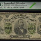 1883 $5  the BANK OF LONDON ,ontario   PMG 6  serial #13