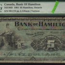1904 $5 the BANK OF HAMILTON ,ontario PMG 8
