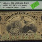 1876 $4  the DOMINION BANK ,toronto, ontario   PMG 6