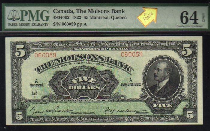 1922 $5  the  MOLSONS BANK  PMG 64 choice uncirculated