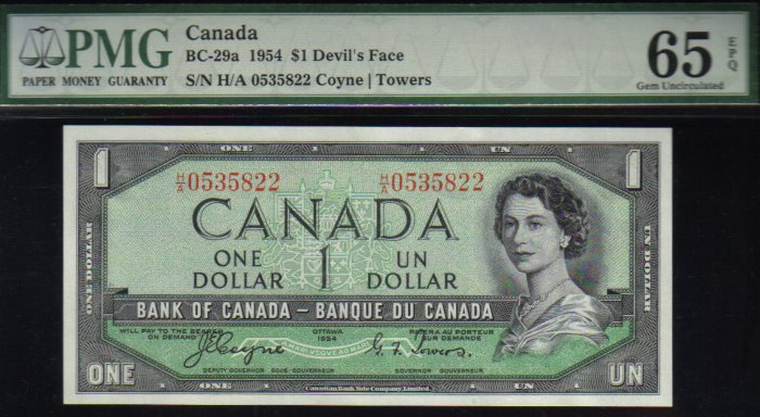 """1954 $1 """"DEVILS FACE H/A"""" BANK OF CANADA PMG65  gem UNCIRCULATED"""