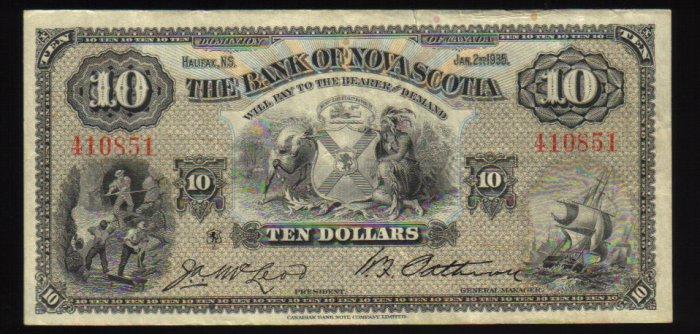 1935 $10  bank of Nova Scotia -BANKNOTES CANADA