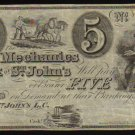 $5 THE MECHANICS BANK st john CANADA CHARTERED BANKNOTE