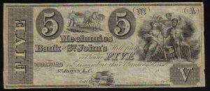 $5 THE MECHANICS BANK st john CANADA CHARTERED BANKNOTE