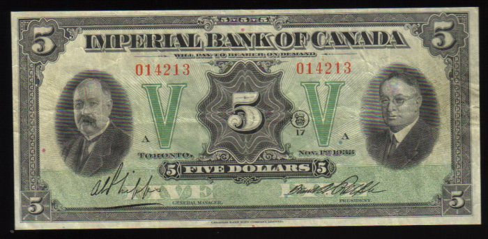 Canadian Currency Imperial Bank of Canada $5  1933