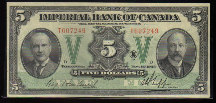 Canadian Currency Imperial Bank of Canada $5  1923