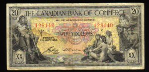 THE CANADIAN BANK OF COMMERCE $20.00 1935 VERY FINE