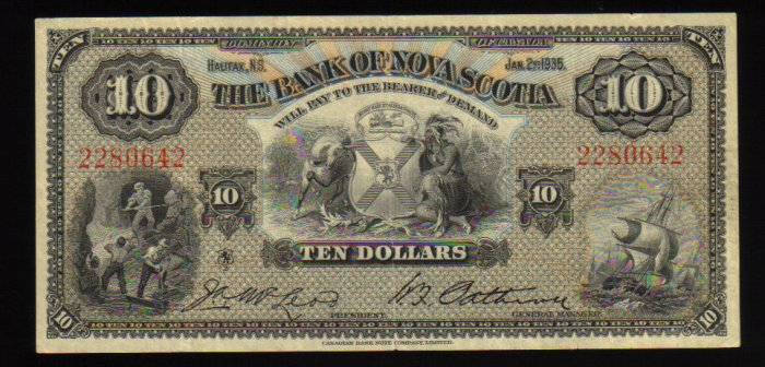 1935 Canada $10 Bank of Nova Scotia Bank Note vf/ef