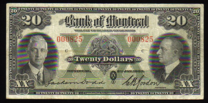 BANK OF MONTREAL 1935 $20 LOW SERIAL #825 vf