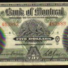 1938 $5  BANK OF MONTREAL  five dollars