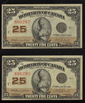 1923 CONSECUTIVE 25cents shinplster DOMINION OF CANADA EF/AU