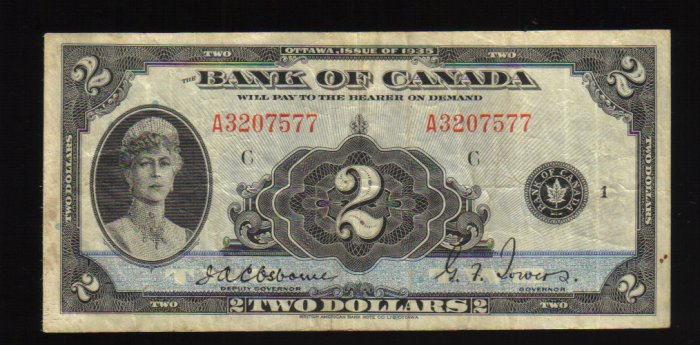 BANK OF CANADA $2 1935 VF