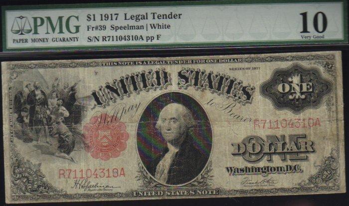 """USA $1917 $1   legal tender  PMG vg10  """