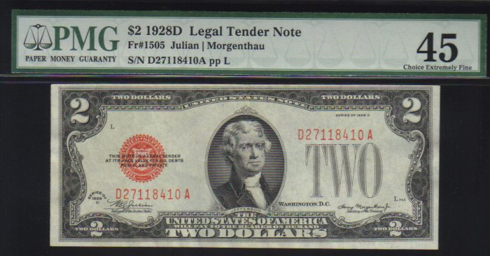 $2 1928 D United States Note RED SEAL  PMG 45