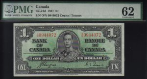 1937  $1  BANK OF CANADA   PMG 62 UNCIRCULATED
