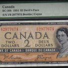 1954 $2 BANK OF CANADA DEVIL FACE PAPERMONEY PMG 40