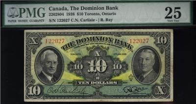 1938 THE DOMINION BANK  $10 PMG VF25 very very NICE