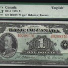 1935  $1   BANK OF CANADA   BC-1    PMG 58 au B series