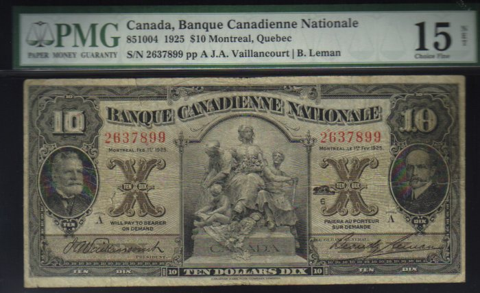 1925 $10 banque canadienne national