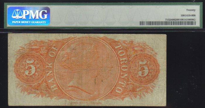 1937 $5 the BANK OF TORONTO PMG15 very nice