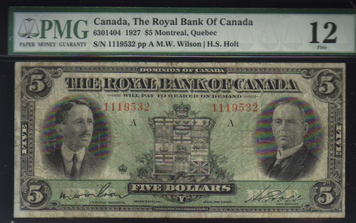 1927 $5 royal bank of canada  PMG12 very nice