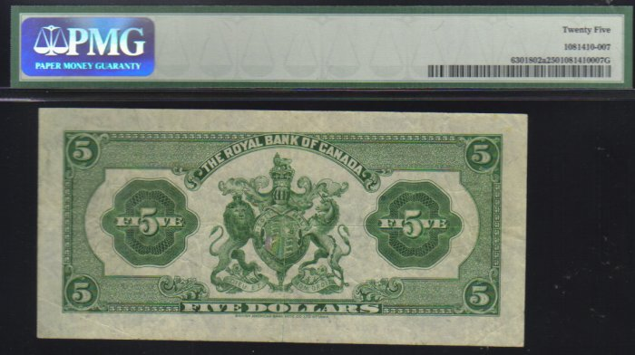 1935   $5 royal bank of canada  PMG 25 very nice