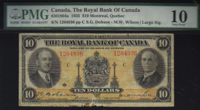 1935 $10 royal bank of canada  PMG 10  very nice