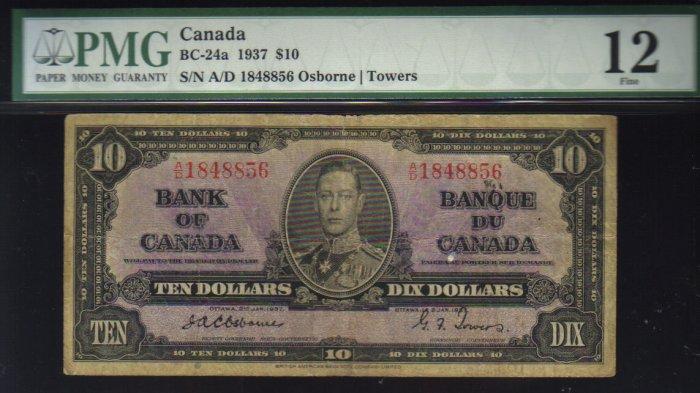 1937 $10  bank of canada  PMG 12  osborne/towers