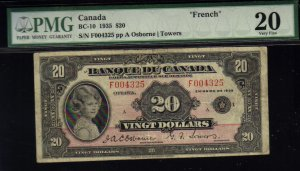 FRENCH 1935 $20  BANK OF CANADA PMG 35 princess note