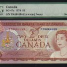 4444444 BANK OF CANADA PMG 66 $2 1974 RADAR & SOLID