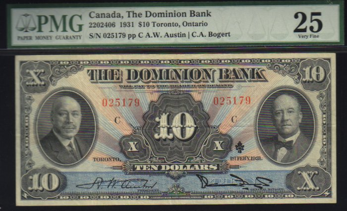 $10 1931 THE DOMINION BANK canada banknote PMG 25