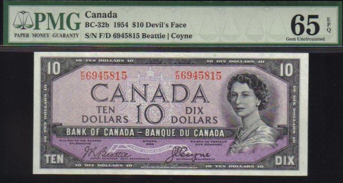 DEVILS FACE $10 BANK OF CANADA 1954 PMG 65 gem unc