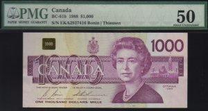$1000 1988 BANK OF CANADA PMG 50 BC-61b !!!!!!!!