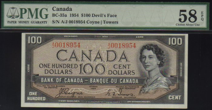 DEVILS FACE $100 BANK OF CANADA 1954 BC-35a PMG 58 EPQ