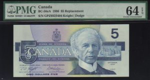 1986 $5GPZ replacement BANK OF CANADA BC-56eA PMG 64 EPQ
