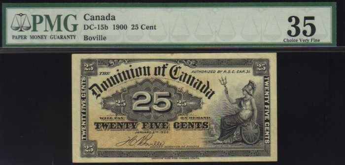 1900 25cent  DOMINION OF CANADA  PMG 35 shinplaster