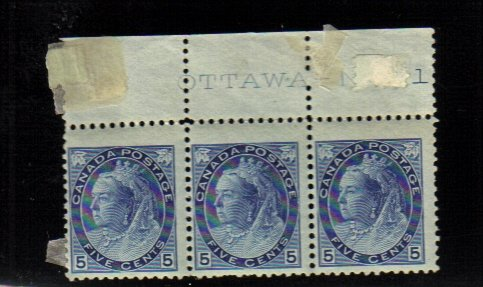 1899 5 cents 3 STAMPS queen victoria MNH canada RARE plate 1