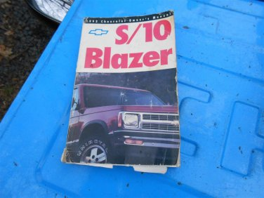 92 1992 Chevy S10 Blazer SUV owners manual