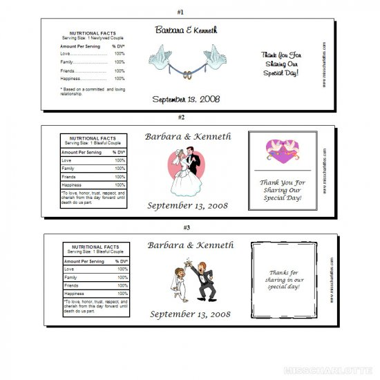 100 Personalized Bridal Shower or Wedding Reception Full Size Water Bottle Favor Labels