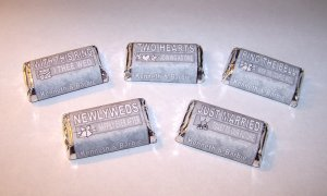 120 Personalized Wedding or Bridal Favor Miniature Candy Wrappers Art Deco Floral Pattern